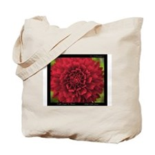 Red Dahlia Quote Tote Bag