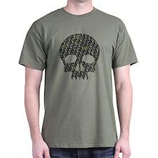 Lietuva Distressed Skull Pattern T-Shirt