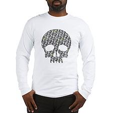Lietuva Distressed Skull Pattern Long Sleeve T-Shi