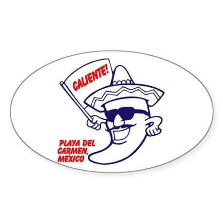 Playa del Carmen, Caliente BR Sticker (Oval)