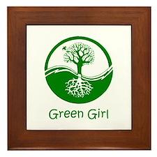 Green Girl Framed Tile