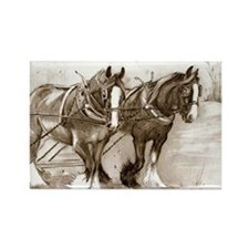Rectangle Magnet Shire Horses design