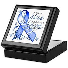 I Wear Blue Because I Love My Wife Keepsake Box