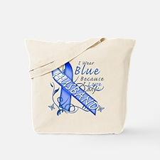 I Wear Blue Because I Love My Husband Tote Bag