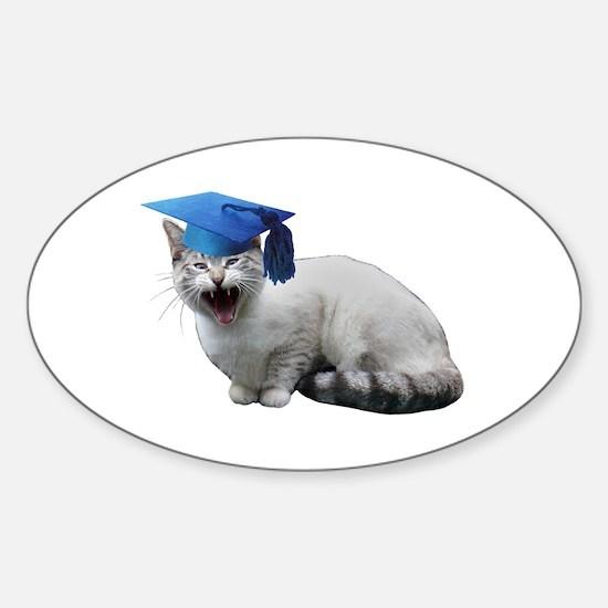 Cat Graduation Sticker (Oval)