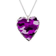 Purple Camo Necklace Heart Charm
