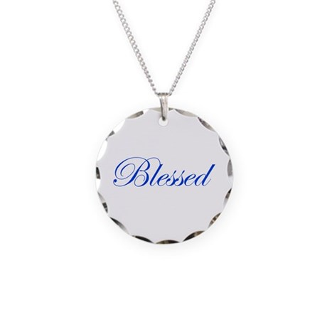 Blue Blessed Necklace Circle Charm
