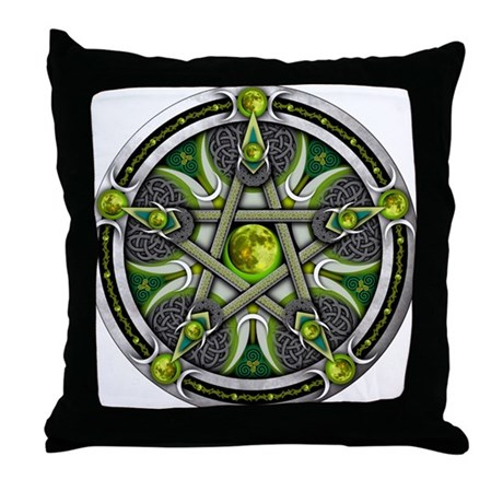 Pentacle of the Green Moon Throw Pillow