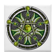 Pentacle of the Green Moon Tile Coaster