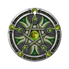 Pentacle of the Green Moon Ornament (Round)