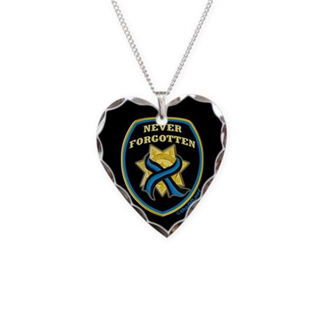 Thin Blue Line NeverForgotten Necklace Heart Charm