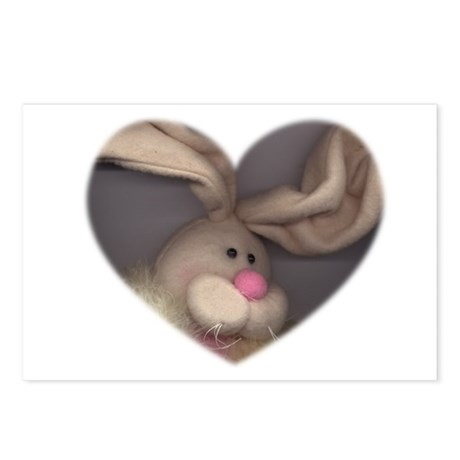 BUNNY FACE HEART Postcards (Package of 8)