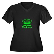 God Save The Queen Women's Plus Size V-Neck Dark T
