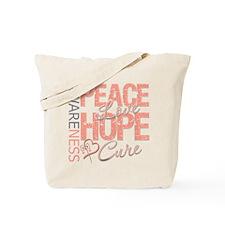 Uterine Cancer Peace Love Tote Bag