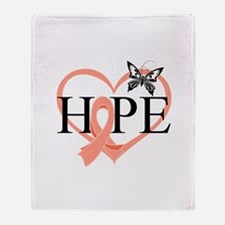 Uterine Cancer Hope Throw Blanket