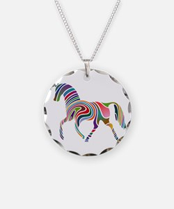 Horse Of Many Colors Necklace Circle Charm