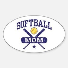 Softball Mom Sticker (Oval)