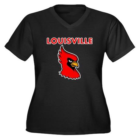 Louisville Bird Women's Plus Size V-Neck Dark T-Sh