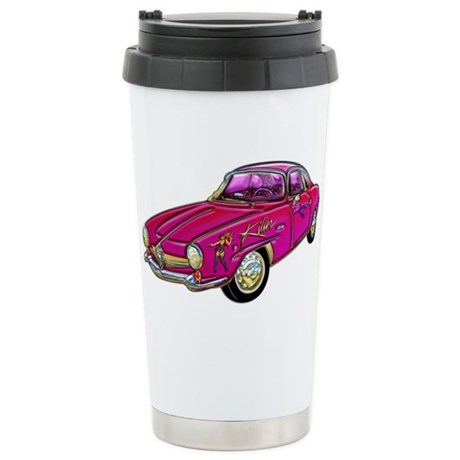 Classic Small Pink Sports Car Stainless Steel Trav