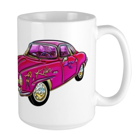 Classic Small Pink Sports Car Large Mug