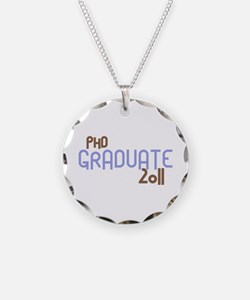 PhD Graduate 2011 (Retro Purple) Necklace Circle C