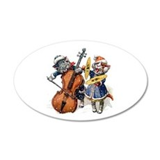 Christmas Musical Cats 35x21 Oval Wall Decal