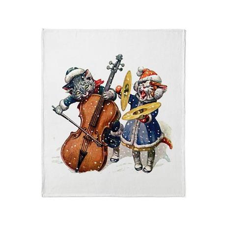 Christmas Musical Cats Throw Blanket