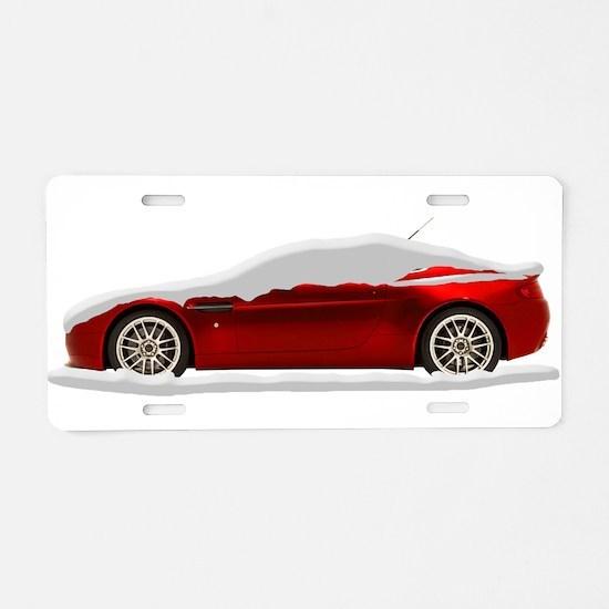 Snow Covered V8 Vantage Aluminum License Plate