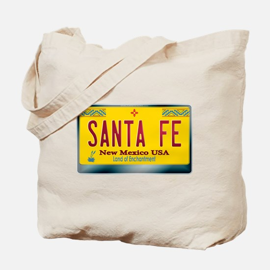"""SANTA FE"" New Mexico License Plate Tote Bag"