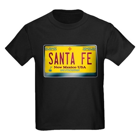 """SANTA FE"" New Mexico License Plate Kids Dark T-Sh"