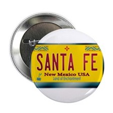 """SANTA FE"" New Mexico License Plate 2.25"" Button"