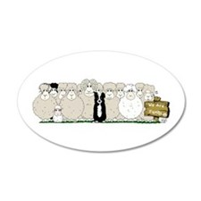 Sheep Family 38.5 x 24.5 Oval Wall Peel