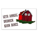12th Annual Drunken Barn Danc Sticker (Rectangular
