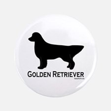 "Golden Retriever Silhouette 3.5"" Button"