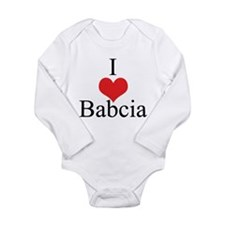 I Love (Heart) Babcia Long Sleeve Infant Bodysuit