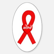 Red Hope Oval Decal