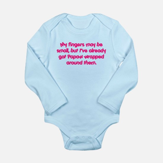 Papaw's Wrapped (pink) Long Sleeve Infant Bodysuit