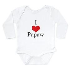 I Love (Heart) Papaw Long Sleeve Infant Bodysuit