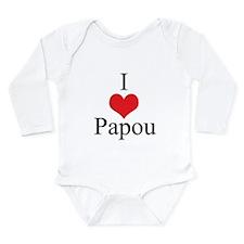 I Love (Heart) Papou Long Sleeve Infant Bodysuit