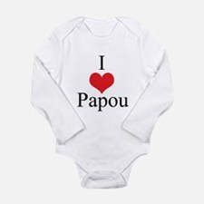 I Love (Heart) Papou Long Sleeve Infant Bodysuit