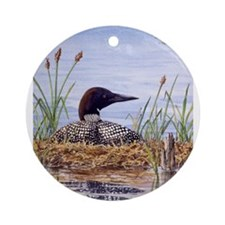 Nesting Loons Ornament (Round)