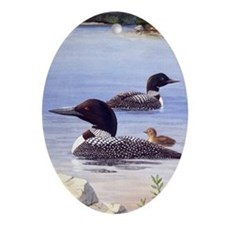 Loons with Chick Oval Ornament