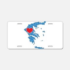 I Love Greece Map Aluminum License Plate