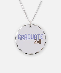 Graduate 2011 (Retro Purple) Necklace Circle Charm