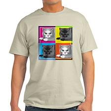 Pop Art Cat Ash Grey T-Shirt