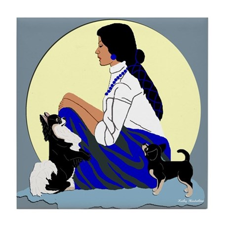 Chihuahuas Lady Moon in Blue Tile Coaster