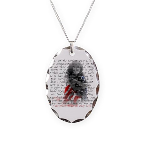 ARMY WIFE POEM Necklace Oval Charm