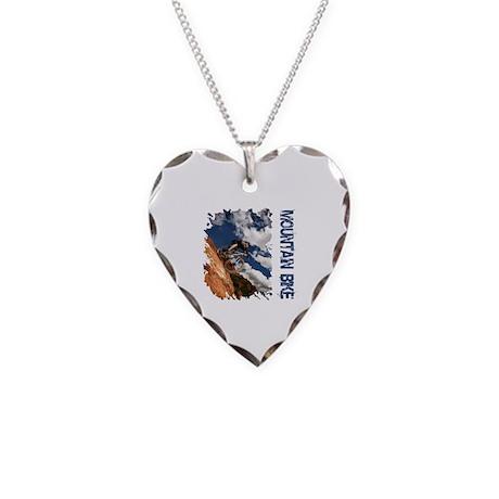 Mountain Bike Blue Sky Necklace Heart Charm