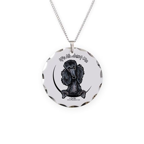 Black Standard Poodle IAAM Necklace Circle Charm
