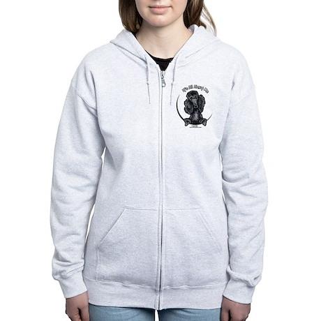 Black Standard Poodle IAAM Women's Zip Hoodie